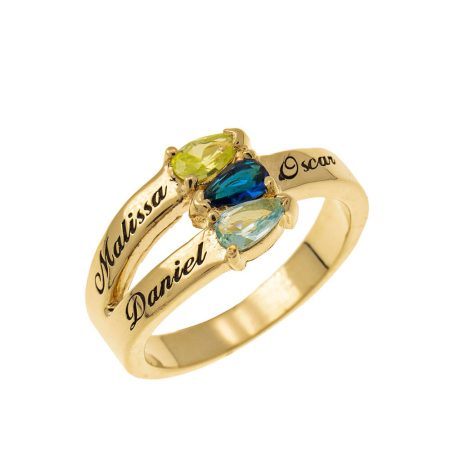 Mothers' Ring with Three Birthstones