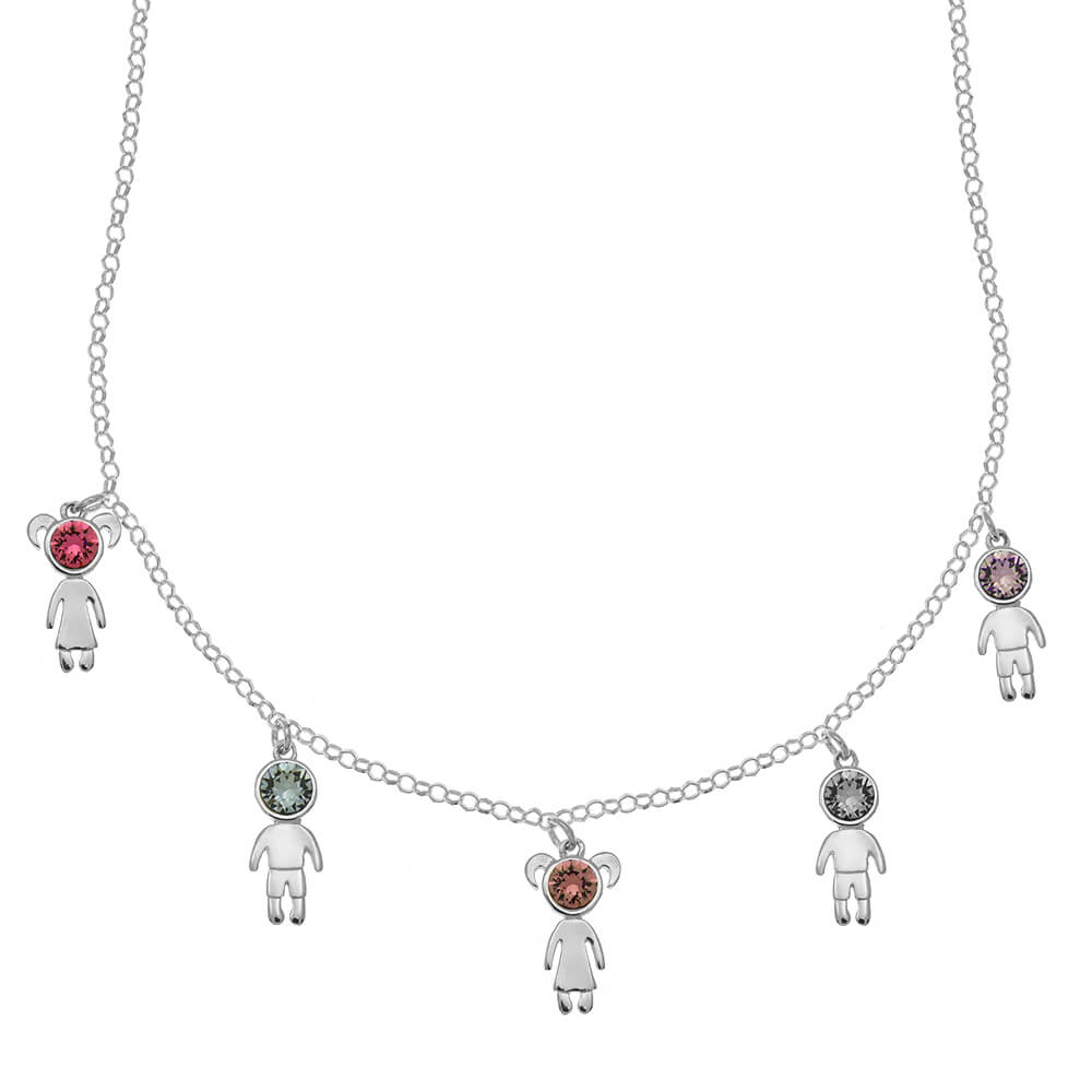 Birthstone Kids Charms Necklace silver