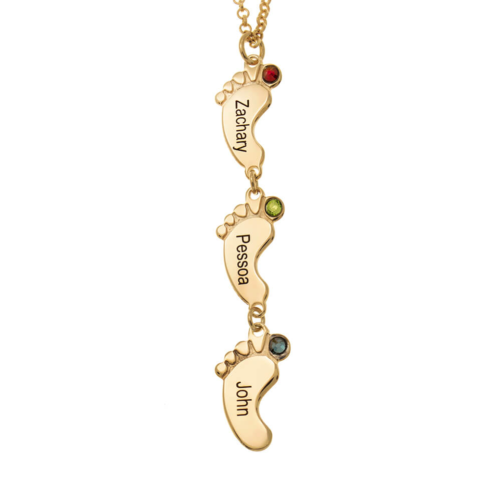 Vertical Baby Feet Necklace with Birthstones gold