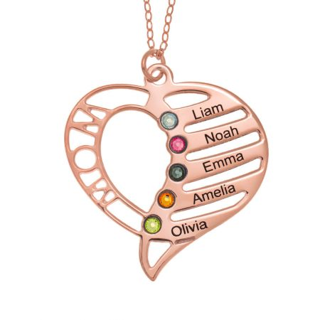 Personalised Mum Heart Necklace with Birthstones