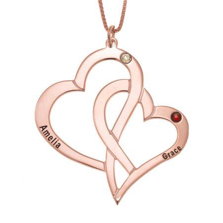 Interlocking Hearts and Birthstones Necklace