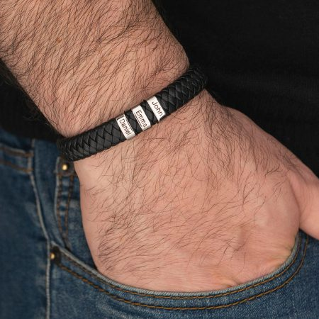 Men's Leather Bracelet with Oval Name Beads