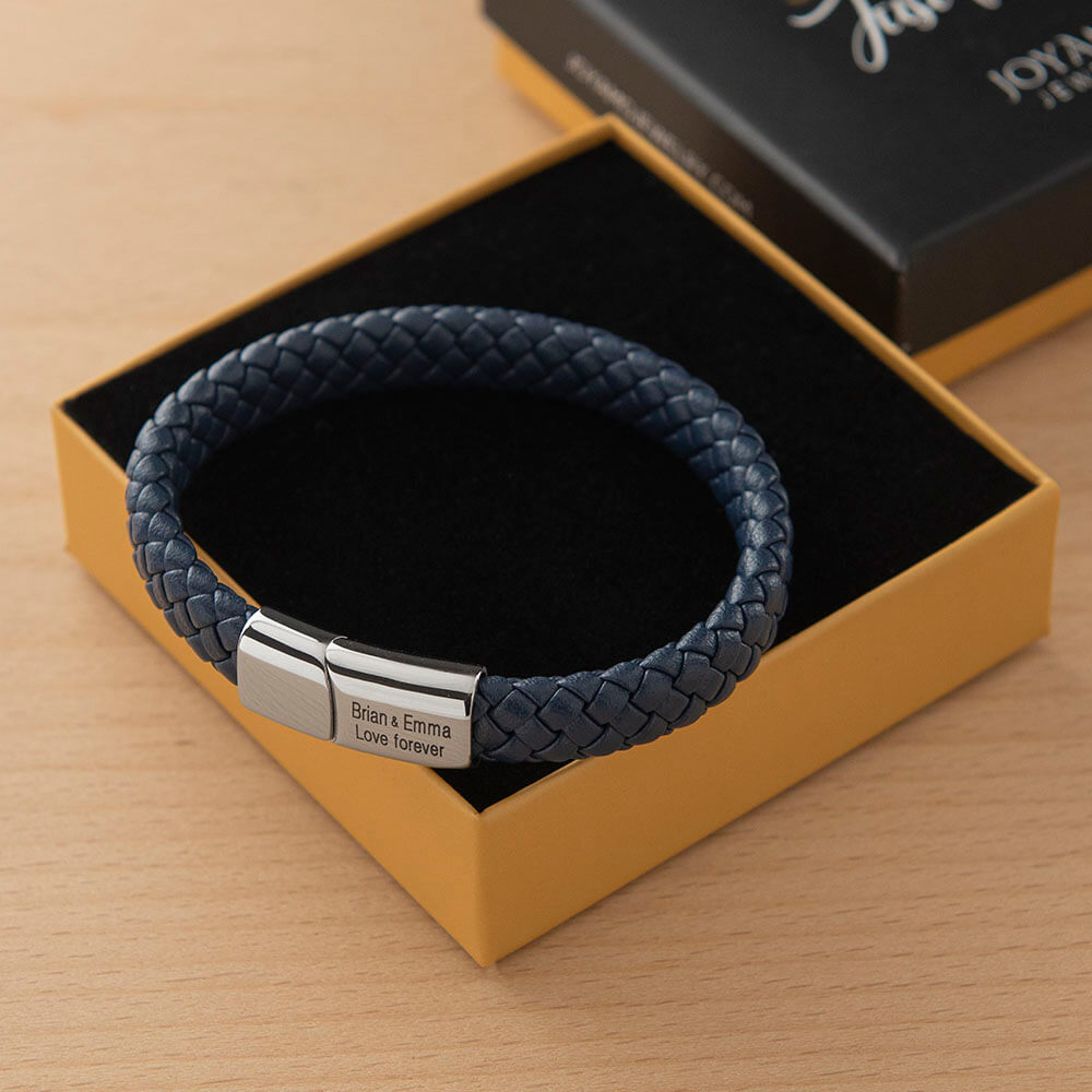 Blue Classic Men's Leather Bracelet - Stainless Steel Box lifestyle
