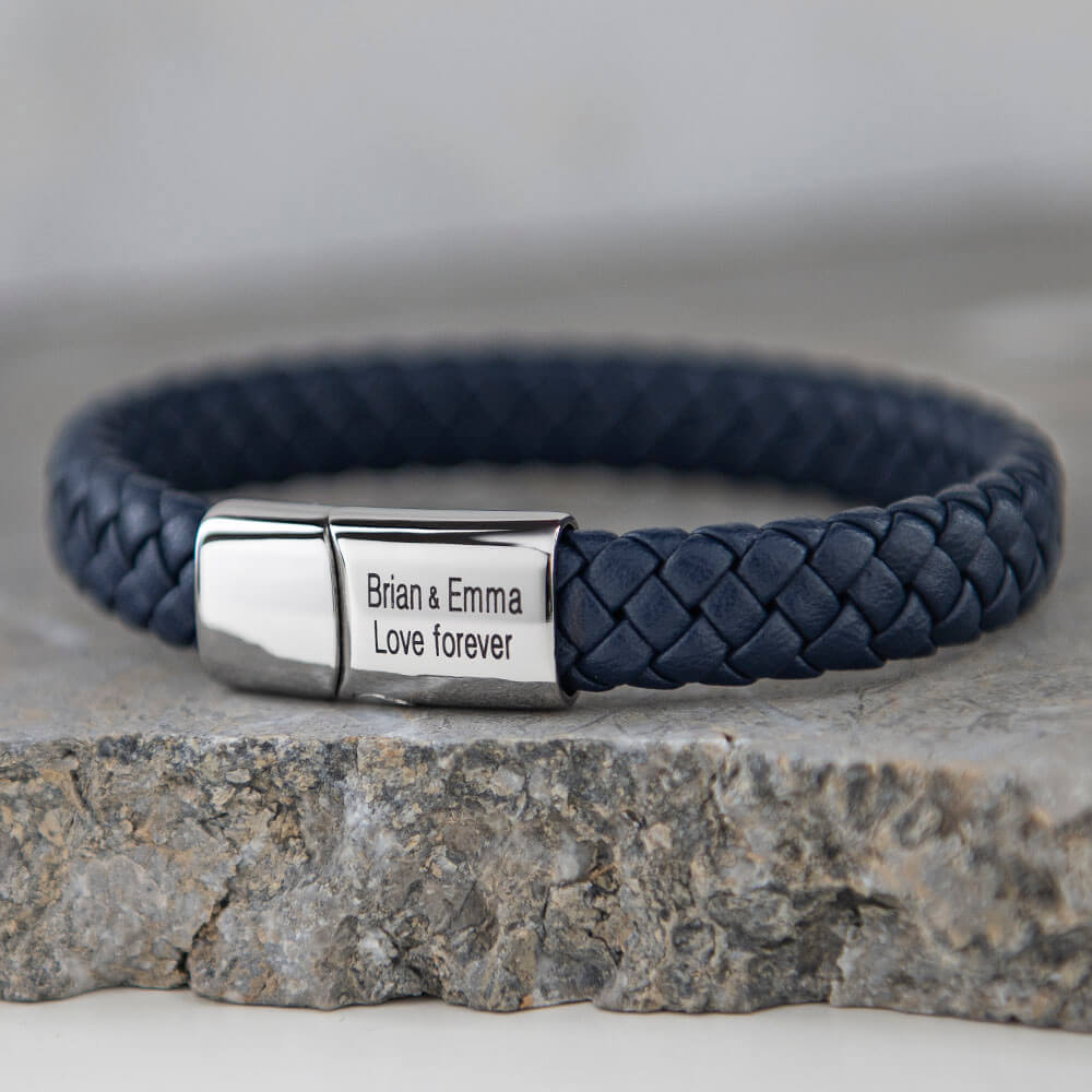 Blue Classic Men's Leather Bracelet - Stainless Steel lifestyle