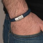 Blue Classic Men's Leather Bracelet - Stainless Steel on a model