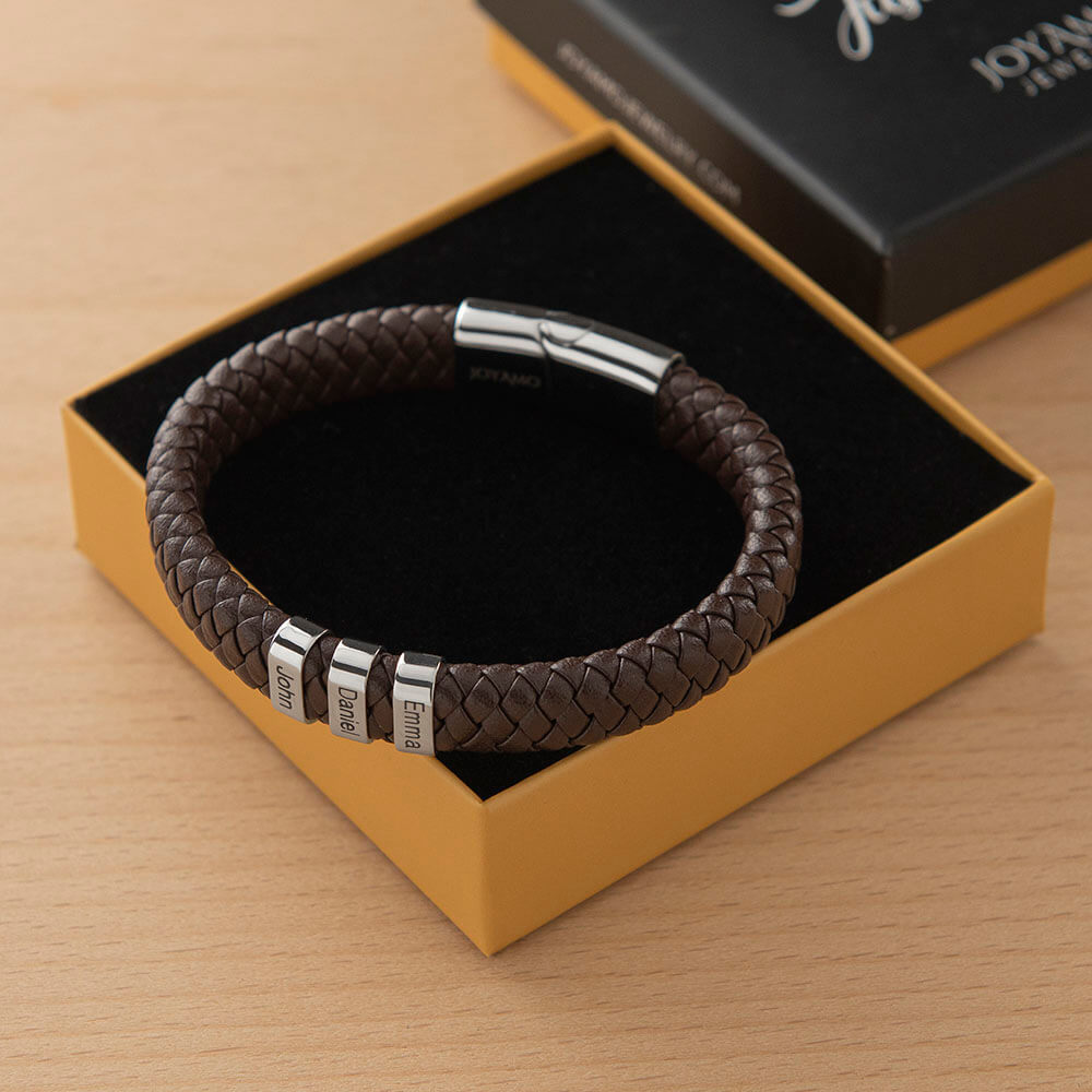 Brown Men's Leather Bracelet with Oval Name Beads Box lifestyle
