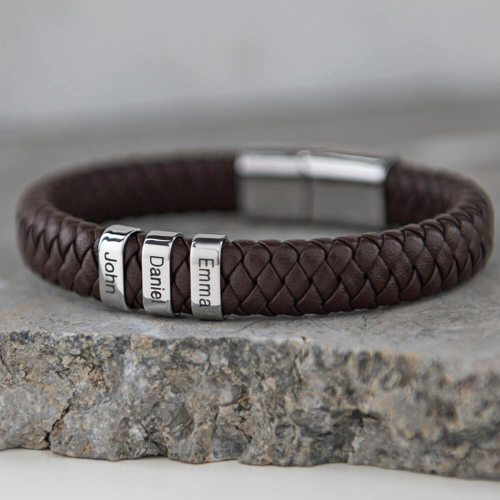 Brown Men's Leather Bracelet with Oval Name Beads lifestyle