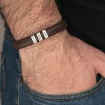 Brown Men's Leather Bracelet with Oval Name Beads - on a model
